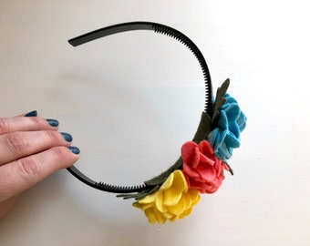 Cluster flowers headband with blue, rose pink, and yellow ruffle blossoms with green leaves - girl headband - spring felt flowers