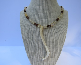 Raccoon Penis Bone Baculum Necklace Citrine Jaspser Beaded Jewelry Statement N236