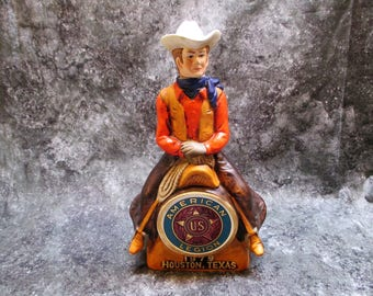 1979 American Legion 61st National Convention Cowboy Liquor Decanter Houston Texas Made In Japan Empty