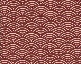 Fabric Japanese small waves red geometric 50 x 55 cm