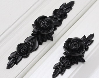 Black Rose Flower Knobs Pulls Dresser Knobs Pulls Drawer Pulls Handles Shabby Chic Kitchen Cabinet Knob Handle Furniture Hardware Decorative