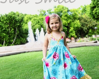 Instant Download- Long Halter Dress Maxi Dress PDF Pattern Girls Size 2T-7 Sewing Pattern Tutorial E Book