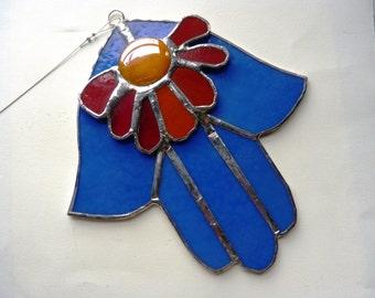 Blue Flower Hamsa - Stained Glass Suncatcher in Red, Blue, Orange