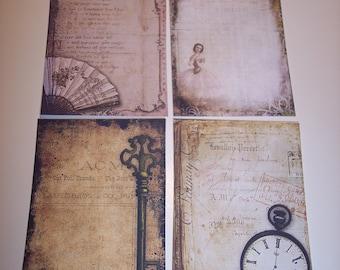 Vintage Steampunk Ephemera Journaling Tags set of 8