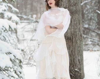 Silk and Organza Bridal Skirt // Bridal Separate // for Two Piece Wedding Dress // Boho Skirt // Ruffle Skirt