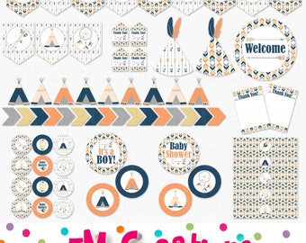 Tribal Baby Shower Decor - Little Chief Baby Shower Printable Decorations - Boy Baby Shower - Arrows Teepee Dream Catcher - INSTANT DOWNLOAD