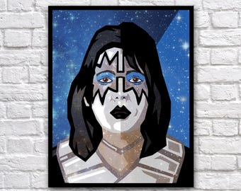 "Ace Frehley/Kiss Vect-o-Grunge 8x10"" Digital Print"