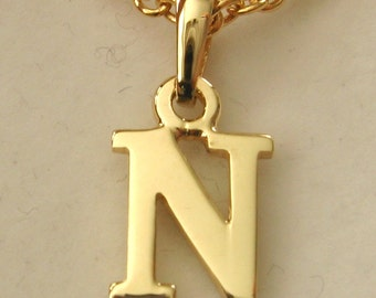 Genuine SOLID 9K 9ct YELLOW GOLD 3D Initial N Letter Pendant