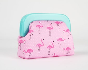 Little purse with resin frame - Flamingo on pink - Girly purse / Mint green frame / Tropical summer / Tiny dots