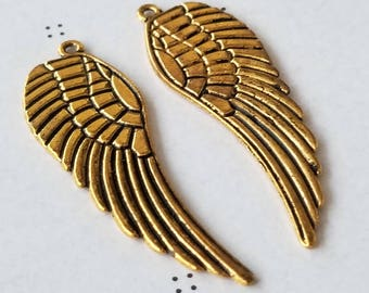 Antiqued gold Wings Charms (2)