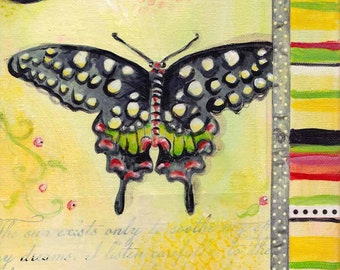 Mixed media collage art, butterfly art, collage painting, modern acrylic painting by Paula Prass. Available in 5x7 or 8x10 fine art print