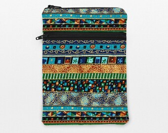 iPad Mini 2 3 Sleeve, iPad Mini Padded Pouch, Apple iPad Air 2 Cover with Zipper Pocket, Handmade Zip iPad Case - blue gold green bohemian