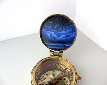 Constellation Night Sky Painted Pocket Compass, Made to Order, Brass Compass with Tarnish Markings on Sale