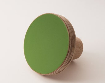 Wooden colourful knob, for cabinets, kitchen cupboard doors, green forest