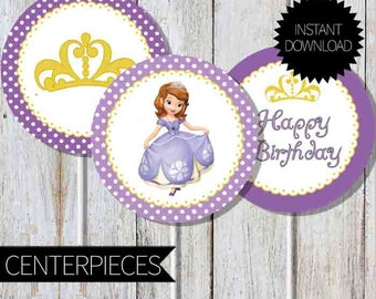 Sofia The First Birthday Party PRINTABLE Centerpieces- Instant Download   Princess Sofia   Disney   Sofia The First Birthday  Cake Topper