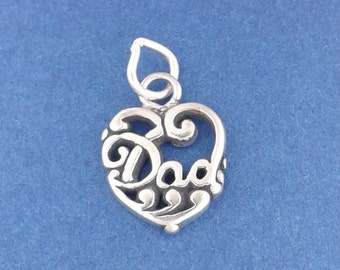 DAD HEART Charm .925 Sterling Silver Father Small Pendant - lp2965