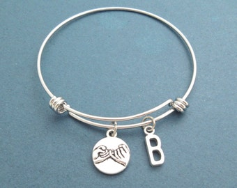 Pinky promise, Personalized, Letter, Initial, Alphabet, Bangle, Bracelet, Pinky, Promise, Bracelet, Lovers, Best friends, Gift, Jewelry