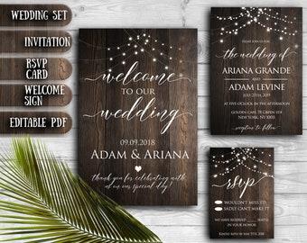 Rustic Wood Wedding Invitation SET Editable Printable Invitations PDF template