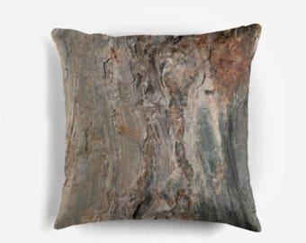Rust and Gray Pillow, Rock Pillow, Peach and Gray Pillow, Gray Abstract Pillow, Man Cave Decor, Coastal Rock Pillow, Rustic Pillow, Earthy