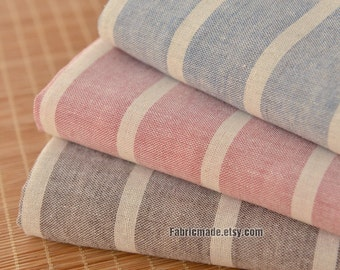 Beige Stripes Linen Fabric, Pink Blue Brown Stripes Cotton Linen Blended Fabric Vintage Styles - 1/2 Yard