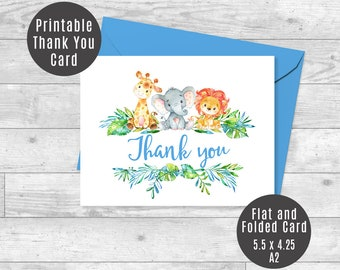 Safari Thank You Card, Baby Giraffe, Elephant, Lion Jungle Animals Baby Shower Printable Cards Blue Text Flat & Folded A2 - ID01