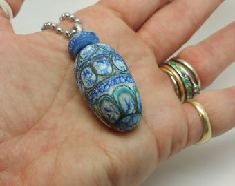Denim Pendant, handmade, artisan lampwork