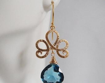 Mothersdaysale Gorgeous London Blue Quartz dangle Earrings