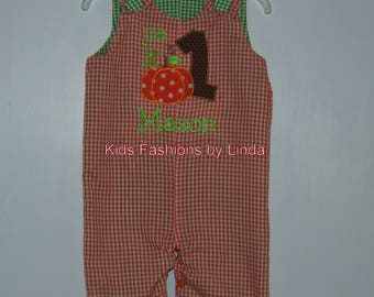 """Personalized This Lil """"Pumpkin"""" is 1 Orange Gingham Longalls with Green Gingham Liner"""