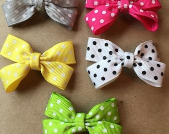 Polka dot hairbow clip set - set of 5