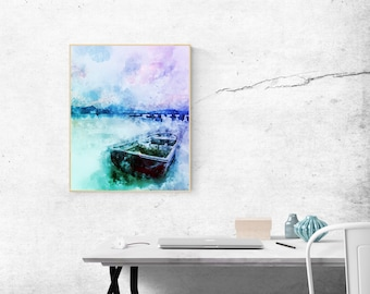 A Boat on a Calm Lake, in Cool Blue Color Scheme, Dreamy, Printable, Watercolor, Abstract, Home Decor Wall Art