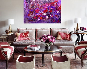 "Abstract Painting, Interior Painting ""Soul of the rose"". Large Original Contemporary Wall Painting on canvas. Burgundy, lilac."