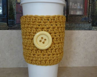 Gold Crochet Cup Sleeve , Crochet Cup Cozy. Cup Cozy, Coffee Cozy, Reusable Cup Sleeve, Coffee Lover Gift, Gifts under 10, Stocking Stuffer
