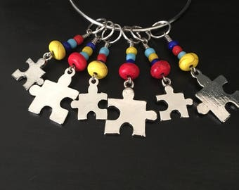 Autism Awareness Stitch Markers for Knitting or Crocheting