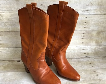 Vintage Brown Leather Boots - Women's Size 5 - 5b - B -  Riding Boots - Simple Boot