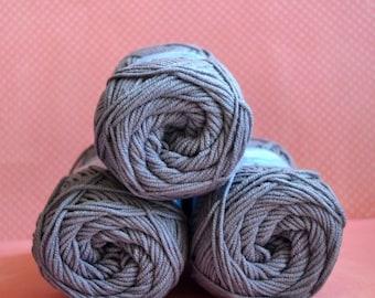 Kacenka - soft cotton/acrylic yarn for crochet and knitting, Grey color, No. 8834, 1 ball/50 g, Producer NCT
