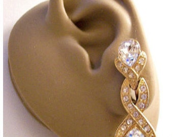 Monet Crystal Teardrops Clip On Earrings Gold Vintage Long Encrusted Rhinestone Crossed Bands Faceted Beads Brushed Backs Comfort Paddle
