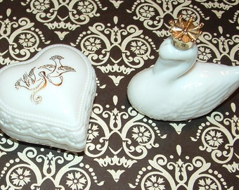 2 Milk Glass Avon Figurine Cologne Bottles Swan with Gold Crown and Heart  with Doves