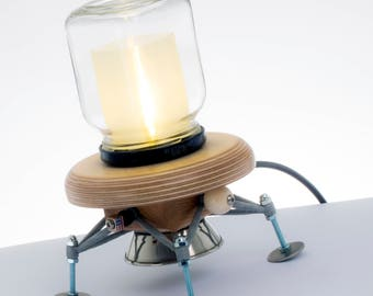 LED Lamp 'Apollo'. A NASA inspired lamp, made with recycled plywood, an upcycled glass jar & an LED bulb.