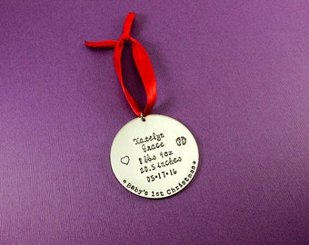 Personalized Baby's First Christmas Ornament - Baby Stats Ornament - Baby's 1st Christmas Ornament - Stamped Ornament - First Christmas Gift