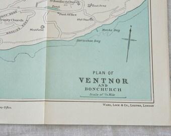 1950 Ventnor & Bonchurch, Isle of Wight, United Kingdom (Great Britain) Vintage map