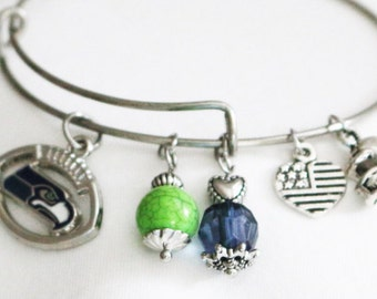 Seattle Seahawks Football with Team Colors, Seahawks Bracelet or Seahawks Keychain, Football Jewelry, Gift for Her, Stainless Steel