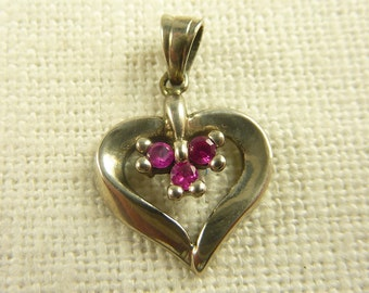 Vintage Sterling and Pink Spinel Little Heart Pendant