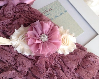 Petti Romper Set - Antique Dusty Rose Romper and Flowers Headband - Birthday/Holidays/Photo Props -Dusty Rose Romper set