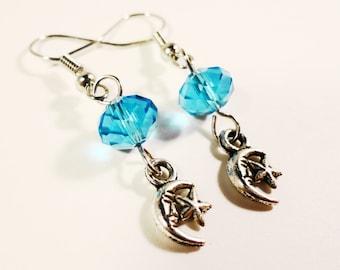 Silver Moon Charm Earrings, Star Earrings, Celestial Earrings, Aqua Blue Crystal Bead Earrings, Beaded Dangle Earrings, Beadwork Jewelry