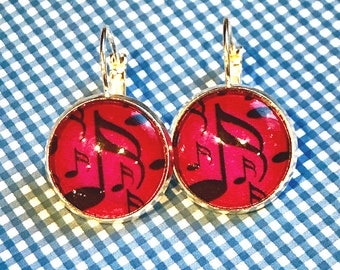 16th note music glass cabochon earrings - 16mm