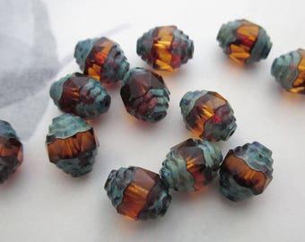 15 pcs. Czech glass topaz w antiqued copper verdi gris cathedral beads 10x8mm - r386