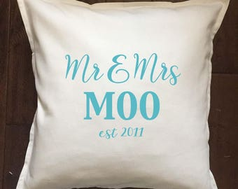 Personalized Wedding Date pillow - wedding gift - ivory and teal - 20 x 20 inches