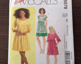 Easy McCall's Sewing Pattern M5578, Misses' Dresses in Sizes 6, 8, 10, 12, 14, UNCUT