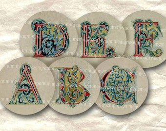 Antique Alphabet One Inch Circles ABC Inchies for Jewelry Pendant Bezels Buttons Bottlecaps Digital Collage Download Sheet 081