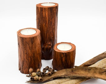 Wood Candle Holders for Wedding Centerpiece, Rustic Wedding Candle Holders, 3 Candle Holders, Australian Wooden Candle Holder
